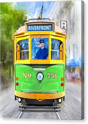 Classic Streamline Streetcar - Savannah Riverfront Canvas Print