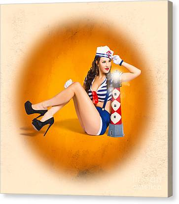 Classic Vintage Sailor Pin-up On Night Watch Canvas Print by Jorgo Photography - Wall Art Gallery