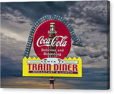 Classic Vintage Sign For A Train Diner And Coca-cola Canvas Print by Randall Nyhof
