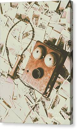 Classic Vintage Wooden Telephone Canvas Print by Jorgo Photography - Wall Art Gallery