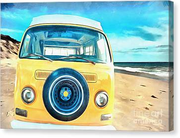 Classic Vw Camper On The Beach Canvas Print by Edward Fielding