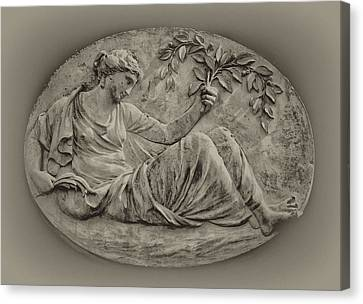 Classical Greek Woman Fresco Canvas Print by Bill Cannon