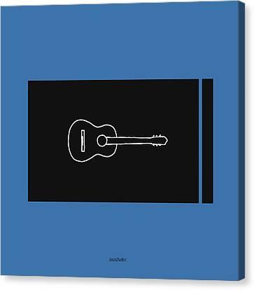 Classical Guitar In Blue Canvas Print by David Bridburg