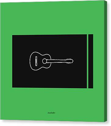Classical Guitar In Green Canvas Print