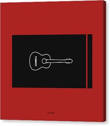 Classical Guitar In Orange Red Canvas Print