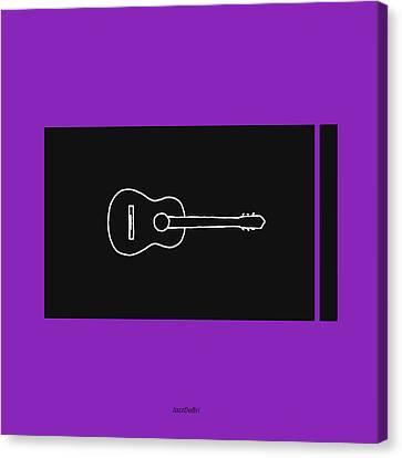 Classical Guitar In Purple Canvas Print by David Bridburg