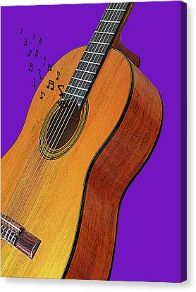 Concert Images Canvas Print - Classical Guitar On Purple by Gill Billington