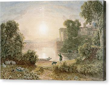 Classical Landscape Canvas Print by George the Younger Barret