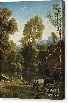 Classical Landscape With Figures By A Lake Canvas Print