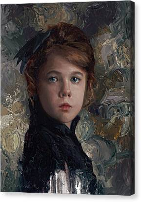 Canvas Print featuring the painting Classical Portrait Of Young Girl In Victorian Dress by Karen Whitworth