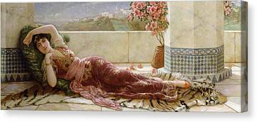 Classical Reclining Girl  Canvas Print by Emile Eismann Semenowski