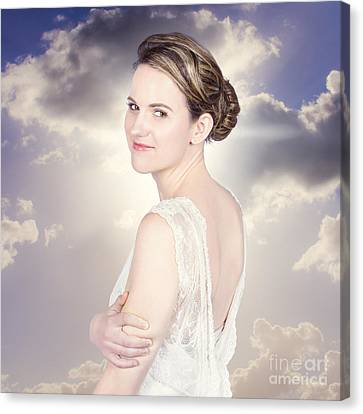 Youthful Canvas Print - Classy Bride Enjoying Outdoor Wedding by Jorgo Photography - Wall Art Gallery