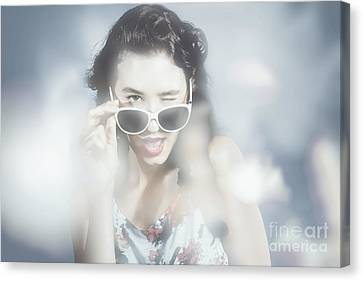 Classy Sixties Fashion Girl In Foggy Field Canvas Print by Jorgo Photography - Wall Art Gallery