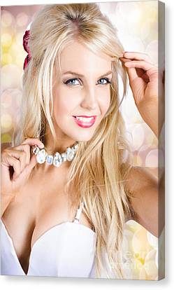 Classy Woman Wearing Diamond Jewelry Chocker Canvas Print