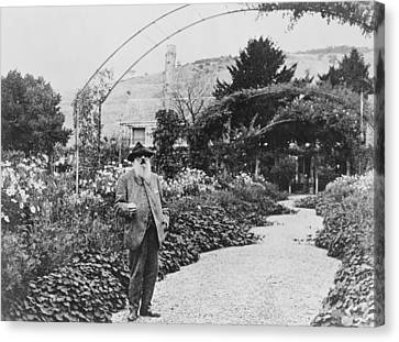 Claude Monet In His Garden Canvas Print by French School