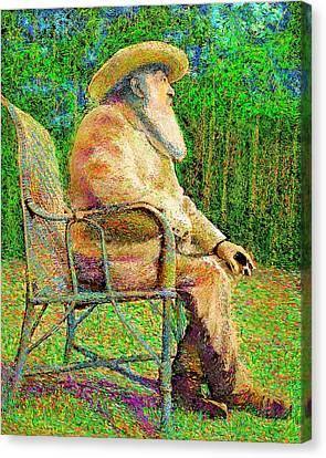 Claude Monet In His Garden Canvas Print by Hidden Mountain