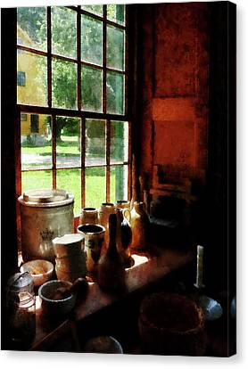 Canvas Print featuring the photograph Clay Jars On Windowsill by Susan Savad