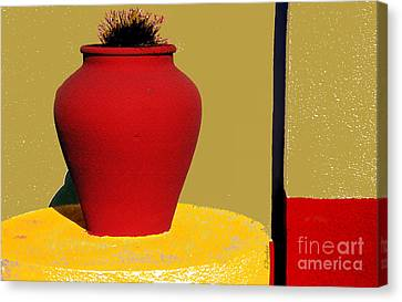 Clay Pot In Red Canvas Print by Linda  Parker