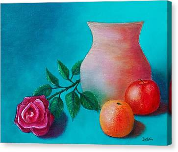 Canvas Print featuring the painting Clay Pot Still Life by Susan DeLain