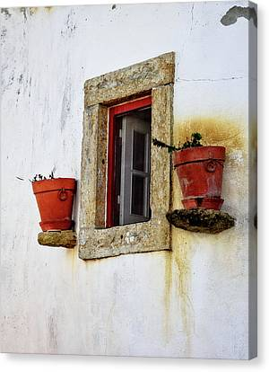 Canvas Print featuring the photograph Clay Pots In A Portuguese Village by Marion McCristall