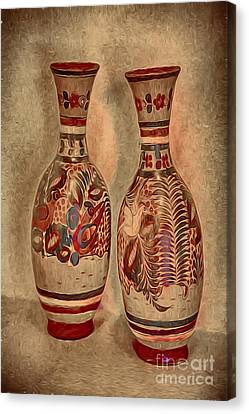 Clay  Pottery  ... Canvas Print by Chuck Caramella