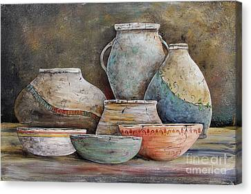 Canvas Print featuring the painting Clay Pottery Still Lifes-a by Jean Plout