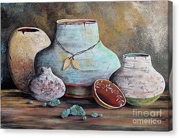 Canvas Print featuring the painting Clay Pottery Still Lifes-b by Jean Plout