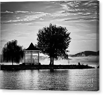Claytor Lake Gazebo - Black And White Canvas Print