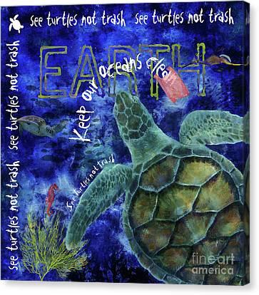Canvas Print featuring the digital art Clean Oceans Sea Turtle Art by Nola Lee Kelsey