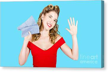 Cleaning Pin Up Maid Holding Washer Rag On White Canvas Print by Jorgo Photography - Wall Art Gallery