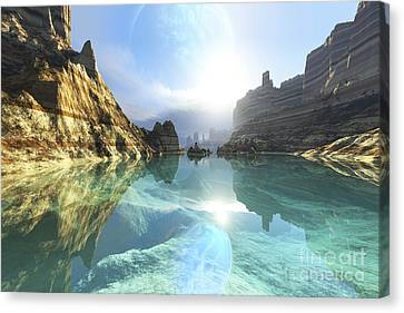 Clear Canyon River Waters Reflect Canvas Print by Corey Ford