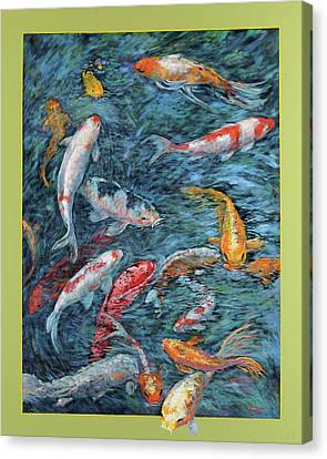 Clear Creek Koi With Painted On Mat Canvas Print by Charles Munn