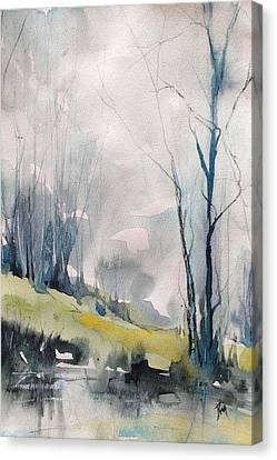 Clearing By The Riverbank Canvas Print