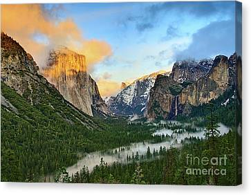 Beautiful Scenery Canvas Print - Clearing Storm - View Of Yosemite National Park From Tunnel View. by Jamie Pham