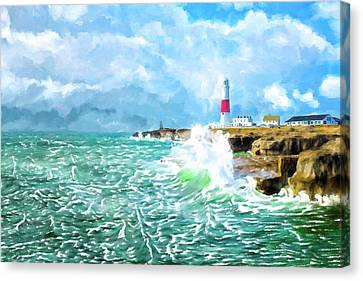 Canvas Print featuring the mixed media Clearing Storm - Portland Bill Lighthouse by Mark Tisdale