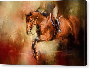 Jumping Horse Canvas Print - Clearing The Jump Equestrian Art by Jai Johnson