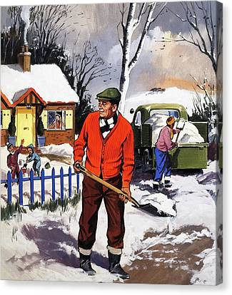 Clearing The Snow Canvas Print by English School