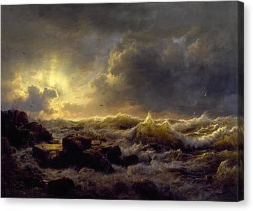 Painting Landscape Achenbach Gulf Naples Vesuvius Evening Canvas Art Print