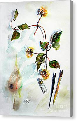Canvas Print featuring the painting Clematis Seed Pods Still Life And Objects by Ginette Callaway