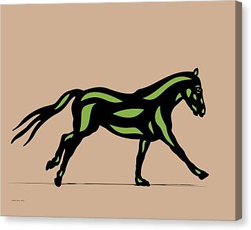 Clementine - Pop Art Horse - Black, Geenery, Hazelnut Canvas Print