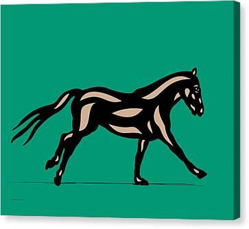 Clementine - Pop Art Horse - Black, Hazelnut, Emerald Canvas Print by Manuel Sueess