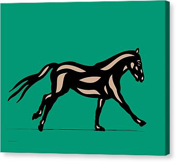 Clementine - Pop Art Horse - Black, Hazelnut, Emerald Canvas Print