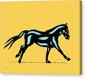 Clementine - Pop Art Horse - Black, Island Paradise Blue, Primrose Yellow Canvas Print