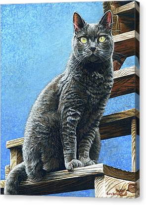 Prussian Blue Canvas Print - Cleo by Cara Bevan