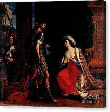 Canvas Print featuring the painting Cleopatra And Octavian by Pg Reproductions