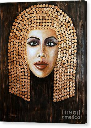 Canvas Print featuring the painting Cleopatra by Arturas Slapsys