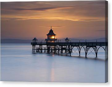 Clevedon Pier Sunset Canvas Print by Carolyn Eaton