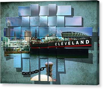 Cleveland Indians Stadium Canvas Print - Cleveland A Different Look by Kenneth Krolikowski