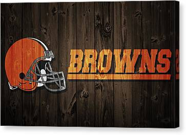 Old Barns Canvas Print - Cleveland Browns Barn Door by Dan Sproul