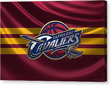 Basketball Collection Canvas Print - Cleveland Cavaliers - 3 D Badge Over Flag by Serge Averbukh